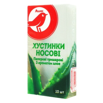 Auchan Handkerchiefs three-layer with aloe aroma 10pcs - buy, prices for Auchan - photo 1