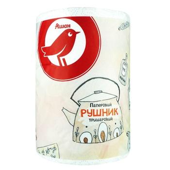 Полотенце Ашан бумажное трехслойное - купить, цены на Ашан - фото 1