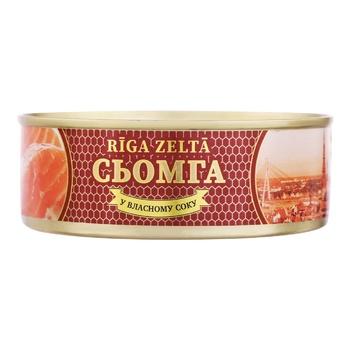 Семга Riga Zelta в собственном соку 200г - купить, цены на Ашан - фото 1