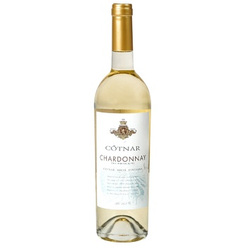 Вино біле Котнар Шардоне виноградне ординарне сортове столове сухе 13% 750мл