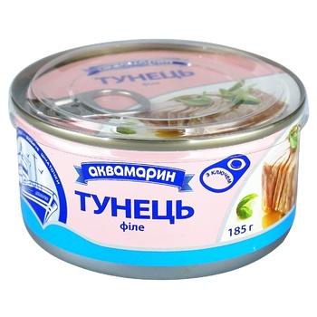 Тунец Аквамарин филе в собственном соку 185г - купить, цены на МегаМаркет - фото 1