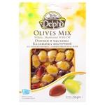 Маслины и оливки Delphi Каламата маринованные с косточкой с оливковым маслом 250г