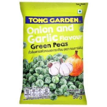 Горох Tong Garden зелений з зеленою цибулею та часником 30г - купити, ціни на Метро - фото 1