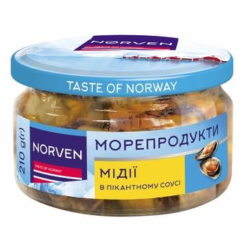Мидии Norven в пикантном соусе 210г