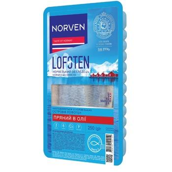 Сельдь Norven филе в масле с пряностями 250г