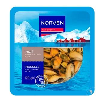 Мідії Norven пряно-пікантні в олії 170г - купити, ціни на CітіМаркет - фото 1