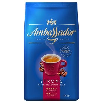 Кава Ambassador Strong зерно 1кг - купити, ціни на Ашан - фото 1