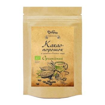 Какао-порошок Добрык органический с пониженным содержанием жира 50г - купить, цены на Ашан - фото 1
