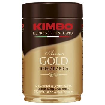 Kimbo Aroma Gold 100% Arabica Ground Coffee in Tin 250g - buy, prices for EKO Market - photo 1