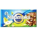 Шоколад молочный ORION® Studentská с арахисом, кусочками желе и грушей 180г