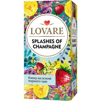 Lovare Champagne Splashes Black and Green Leaf Tea with Berries and Fruits 24pcs * 2g