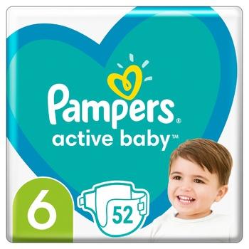 Подгузники Pampers Active Baby размер 6 Extra Large 13-18кг 52шт