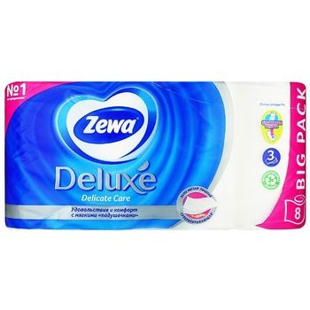 Zewa Deluxe Delicate Care 3-ply White Toilet Paper 8pcs