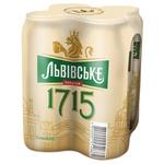 Пиво Львовское 1715 светлое пастеризированное ж/б 4.7% 4шт 0.5л - купить, цены на Метро - фото 1