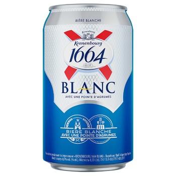 Пиво Kronenbourg 1664 Blanc светлое нефильтрованное 4,8% 0,33л - купить, цены на СитиМаркет - фото 1