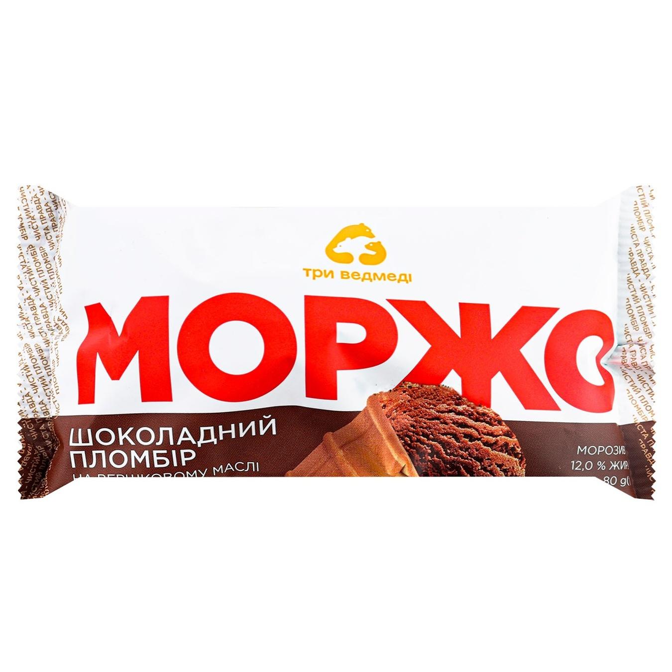 Три Ведмеді / Мороженое Три Медведя Моржо пломбир шоколадный 80г