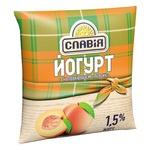 Йогурт Славія з наповнювачем персик 1,5% 400г - купить, цены на Ашан - фото 1