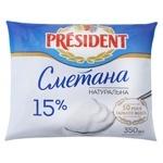 Сметана President 15% 350г