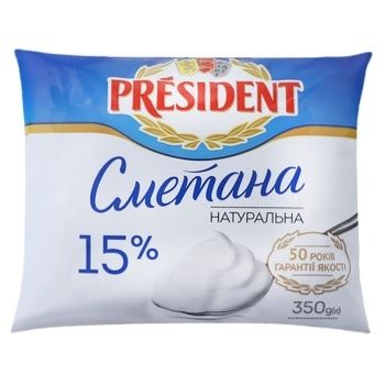 Сметана President 15% 350г - купить, цены на Novus - фото 1