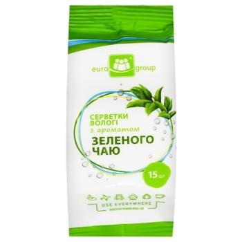 Eurogroup Wet Wipes With Green Tea Aroma 15pc