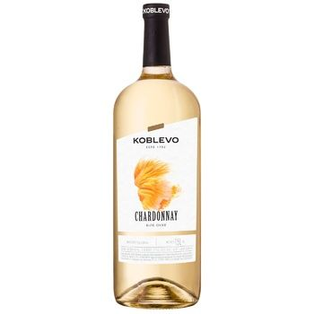 Koblevo Chardonnay White Dry Wine 9.5-14% 1.5l - buy, prices for CityMarket - photo 1
