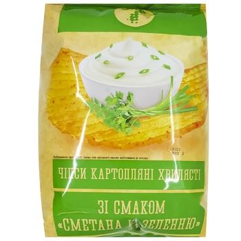 Чіпси Семерка хвилясті зі смаком сметани та зелені 110г