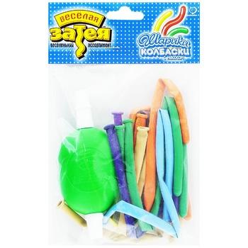 Набор шариков Веселая Затея для моделирования с насосом 10шт - купить, цены на Ашан - фото 1