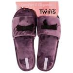 Капці домашні Twins жіночі р.40 велюрові з бантом ліловий