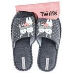 Капці домашні Twins жіночі р.36-37 з наліпкою сірий горох