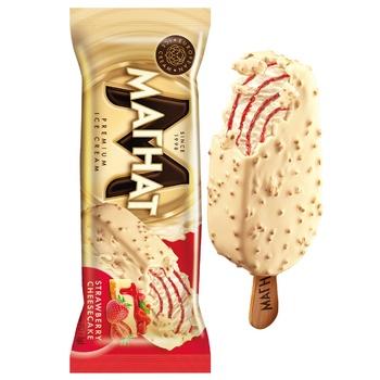 Мороженое Хладик Магнат клубничный чизкейк в белой кондитерской глазури 70г