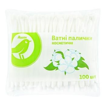 Ватні палички Ашан 100шт - купити, ціни на Ашан - фото 1