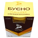 Pate rabbit Lapinn liver canned 95g glass jar Ukraine