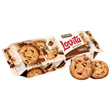 Печиво Roshen Lovita з шматочками шоколадної глазурі 150г