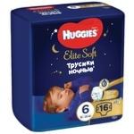 Підгузники-трусики Huggies Elite Soft Overnights Pants 6 нічні 15-25кг 16шт