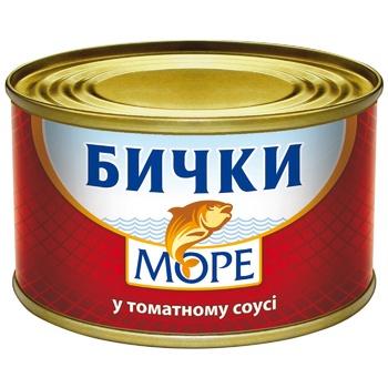 Бычки Море в томатном соусе 230г - купить, цены на Ашан - фото 1
