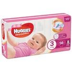 Подгузники Huggies Ultra Comfort для девочек 3 5-9кг 56шт