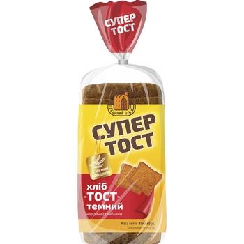 Хліб Київхліб Супер Тост темний нарізаний 350г - купити, ціни на МегаМаркет - фото 1