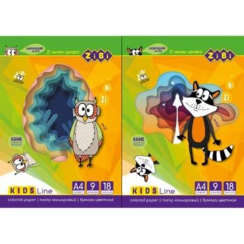 ZiBi Colored Paper Set 9 Colors 18 Sheets