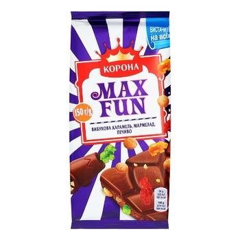 Шоколад молочный Корона Max Fun со взрывной карамелью мармеладом и печеньем 160г