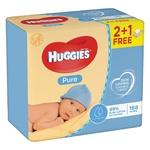 Салфетки влажные Huggies Pure 2+1 168шт