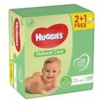 Серветки дитячі Huggies Natural Care 2+1 3*56шт