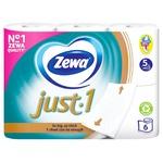 Туалетная бумага Zewa Just 1 белая пятислойная 6шт