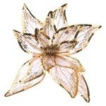 Прикраса новорічна ялинкова, у формі квітки, на кліпсі, зол. колір, 20х20х4 см YZB000300 И854 (КІН)