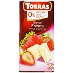 Chocolate white Torras strawberries with cream sugar free 75g Spain