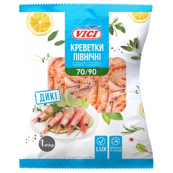 Vici Lux Boiled-Frozen Shrimps in Shell 70/90 1kg - buy, prices for Novus - photo 1