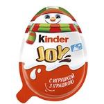 Яйце Kinder Joy Класичний з двошаровою пастою на основі молока і какао і вафельними кульками вкритими какао з молочним кремом усередині та з іграшкою 20г
