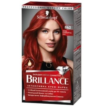 Інтенсивна крем-фарба для волосся Brillance 842 Куба спекотна ніч 160мл - купити, ціни на Ашан - фото 1