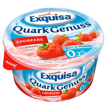 Exquisa Curd Dessert with Strawberries 0.2% 500g - buy, prices for UltraMarket - photo 1