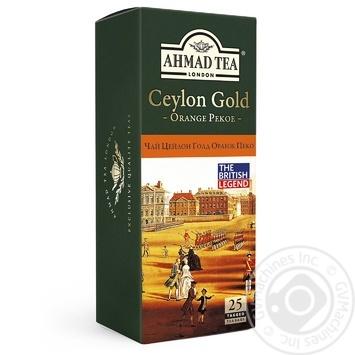 Чай черный Ахмад Цейлон Оранж Пеко Голд пакетированный 25х2г - купить, цены на Фуршет - фото 1
