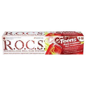 Зубная паста R.O.C.S. Teens Кола и лимон 74г - купить, цены на Novus - фото 1